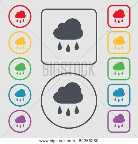 Weather Rain Icon Sign. Symbol On The Round And Square Buttons With Frame. Vector