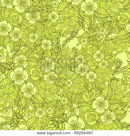Seamless pattern with doodle spring flowers in green