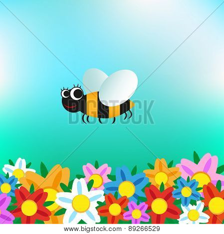Cartoon bee flying over flowers
