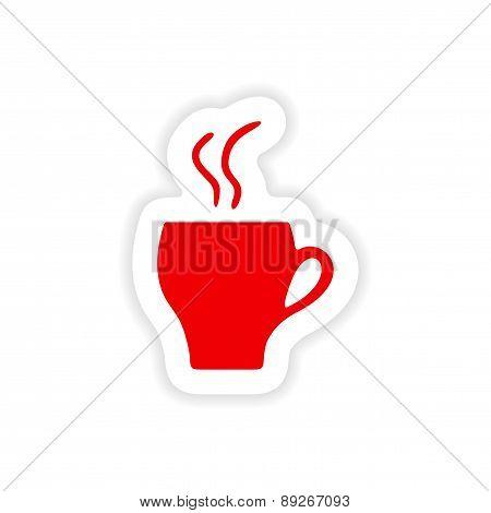 icon sticker realistic design on paper cofee cup