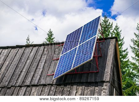 A Solar Panel In A Remote Mountain Village