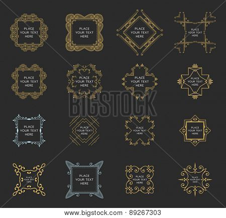 Set of Vintage Frames for Luxury Logos, Restaurant, Hotel, Boutique or Business Identity. Royalty, Heraldic Design with Flourishes Elegant Design Elements. Vector Illustration Templates.