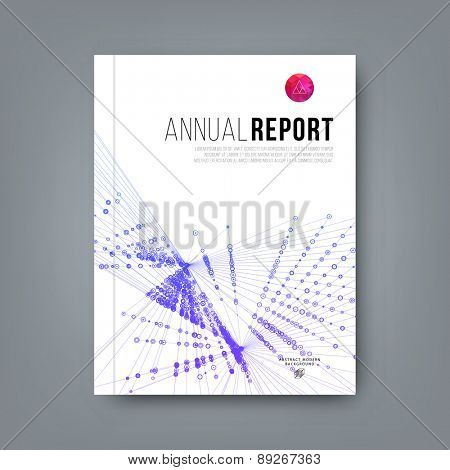Abstract Brochure Template. Report, Flyer, Banner, Poster or Placard Design with Logo and Abstract Geometric Pattern. Lines and Dots. Social Network Concept.