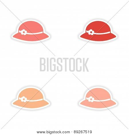 assembly realistic sticker design on paper hats woman
