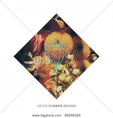 Abstract Flowers Design with Hipster Geometric Label for Contemporary Logo Design. Floral Frame for Poster, Banner, Placard, Restaurant or Boutique Identity
