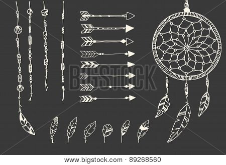 Hand Drawn Native American Feathers, Dream Catcher, Beads And Arrows