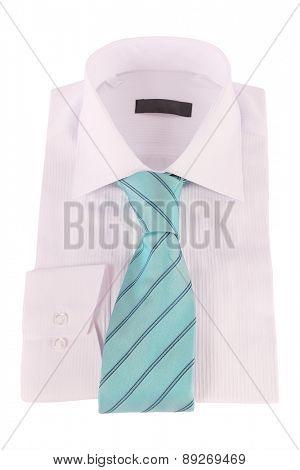 Necktie on a shirt under the white background