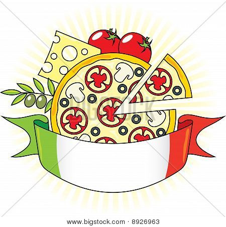 Pizza With The Components And The Flag Of Italy.