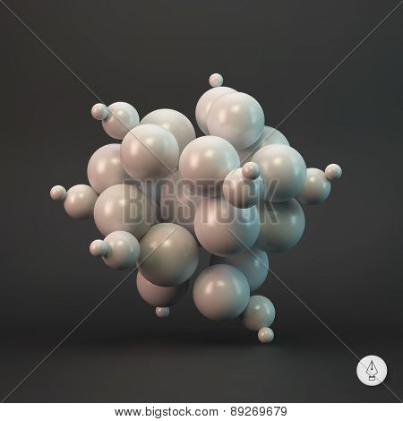 3d abstract spheres. Vector illustration. Can be used for presentations, web design.