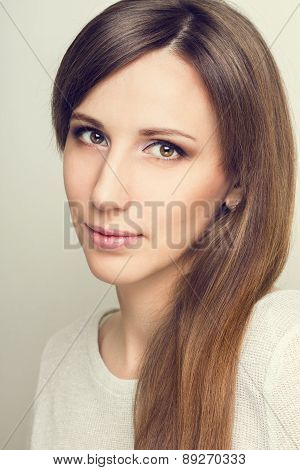 Young Smiling Woman With Beauty Hair