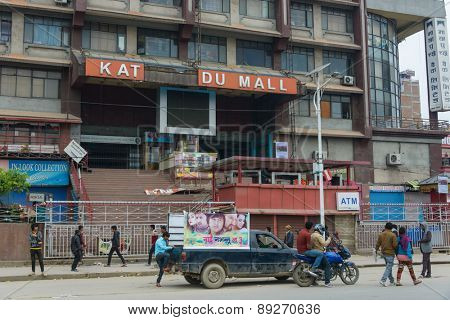 KATHMANDU, NEPAL - APRIL 26, 2015: Damaged Kathmandu Mall sign after the major earthquake on 25 April 2015.