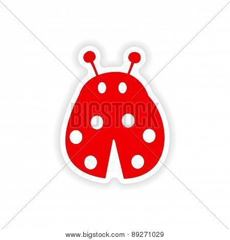 icon sticker realistic design on paper ladybug