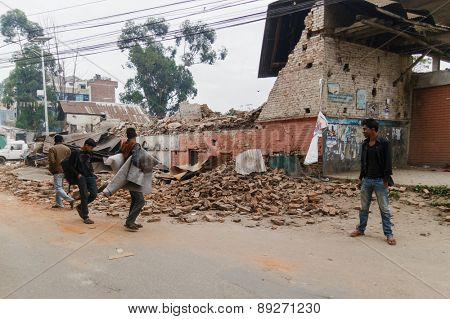 KATHMANDU, NEPAL - APRIL 26, 2015: Damaged building after the 7.8 earthquake hit Nepal on 25 April 2015.