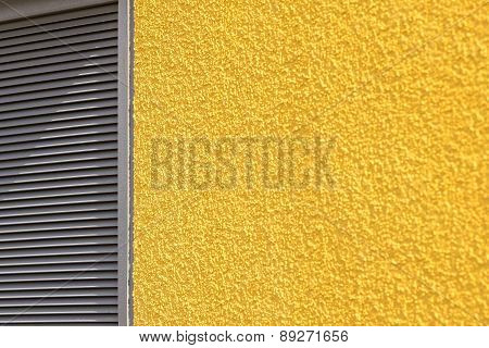 Concrete Wall And Blinds Of Yellow Gray Color