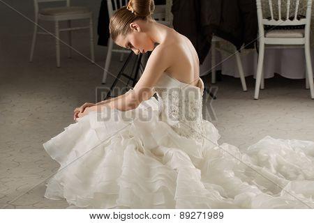 Calm Beautiful Bride In Her Wedding Dress