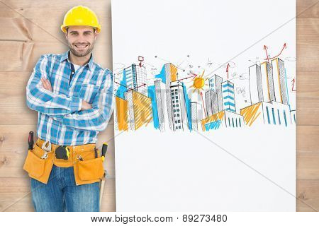 Confident repairman leaning on blank billboard against bleached wooden planks background