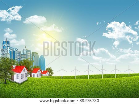 Cityscape with wind power station