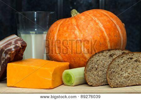 Pumpkin, Cheese, Milk, Leek, Bacon And