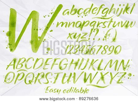 Modern Alphabet Green Color.