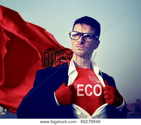 Eco Strong Superhero Success Professional Empowerment Stock Concept
