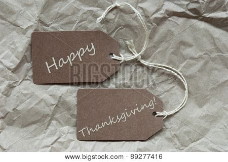 Brown Labels Happy Thanksgiving Paper Background