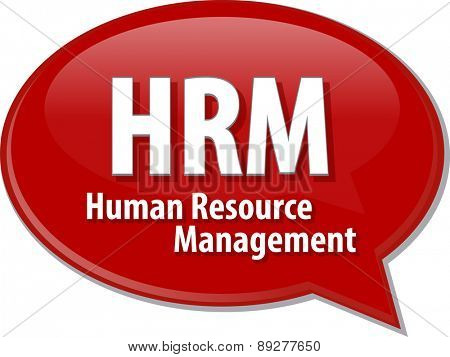 word speech bubble illustration of business acronym term HRM Human Resource Management vector
