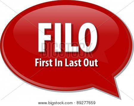 word speech bubble illustration of business acronym term FILO First In Last Out vector