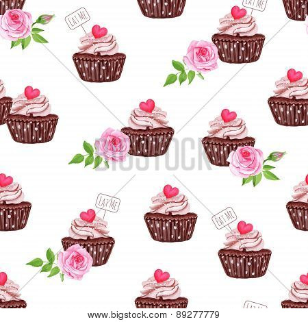 Chocolate Cupcakes With Hearts Seamless Vector Print