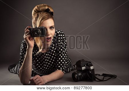 attractive woman surprised at the camera