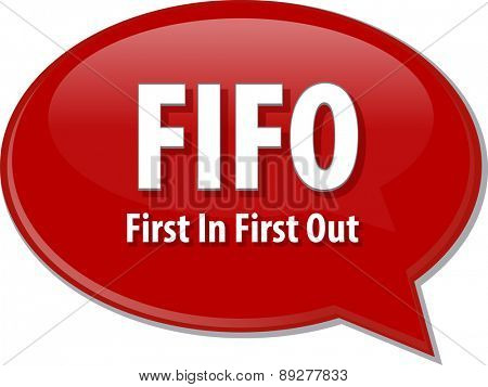word speech bubble illustration of business acronym term First In First Out vector