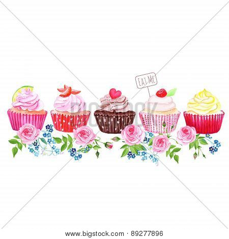 Colorful Cupcakes With Flowers Vector Design Stripe