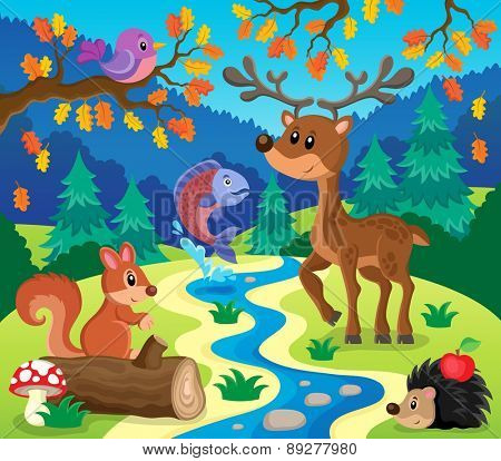 Forest animals topic image 1 - eps10 vector illustration.