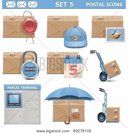 Vector Postal Icons Set 5