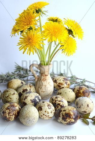 Quail eggs and dandelion