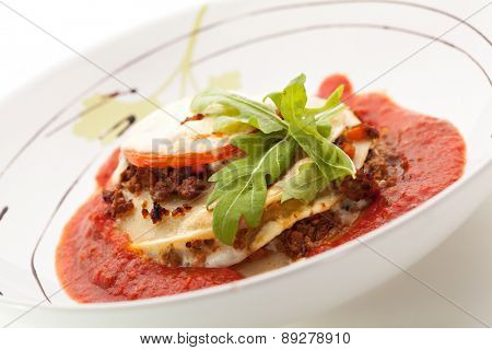 Lasagna with Tomato Sauce and Basil