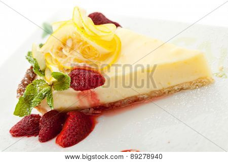 Dessert - Lemon Pie with Berries and Mint