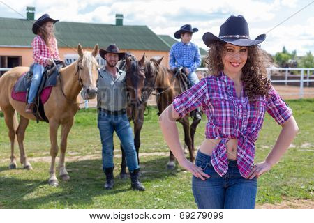 cowboy lady with husband and children