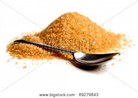 Brown sugar and spoon on white background
