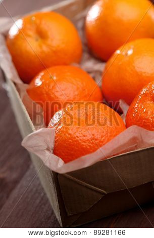 Mandarins in box -close-up