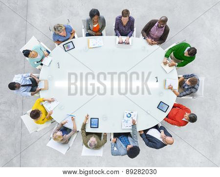 Aerial View People Working Sharing Connection Conference Table