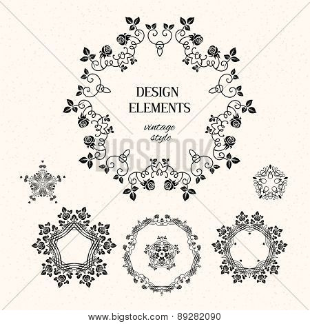 Vector set of design elements. Floral and calligraphy round decoration