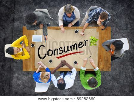 Aerial View of Multiethnic Group with Consumer Concept