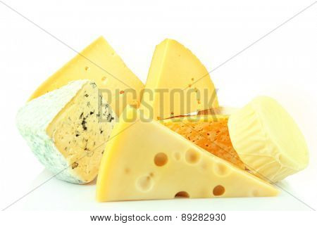 Different sort of cheese isolated on white