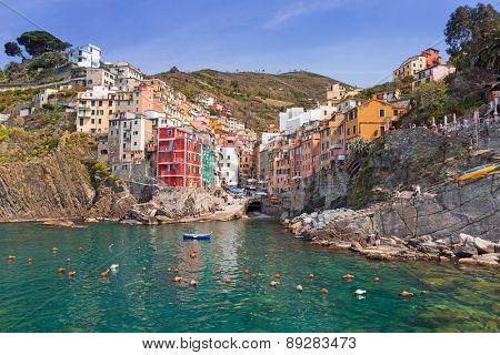 Riomaggiore town on the coast of Ligurian Sea, Italy