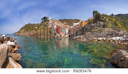 Panorama of Riomaggiore town on the coast of Ligurian Sea, Italy