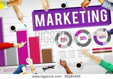 Marketing Distributing Analysing Data Bar Graph Concept