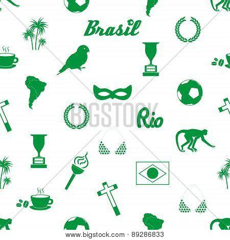 Brazil Icons And Symbols Seamless Pattern Eps10
