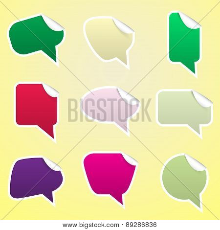 Simple Color Speak Bubbles With Symbols Stickers Eps10
