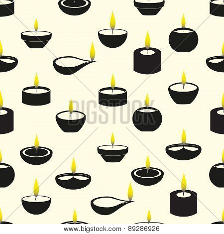 Diwali Candles With Flame Icons Seamless Pattern Eps10