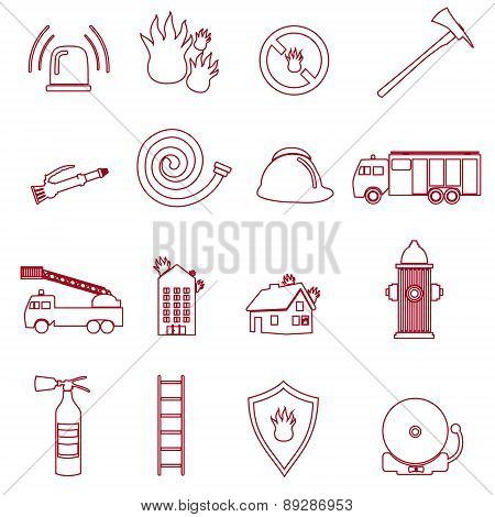 Fire Brigade Outline Red Icons Set Eps10